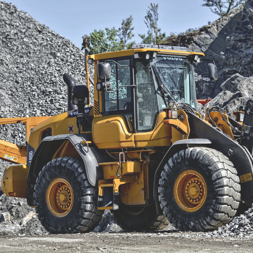 Leased Volvo Loader in gravel pit