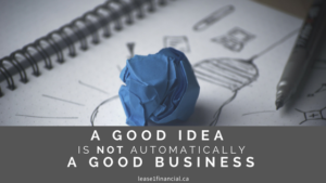 A good idea is not automatically a good business.
